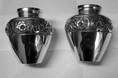 Pair of Silver Vases, beginning 20th century, GHB, Silver 833/1000, Hand Chiseled, Portugal