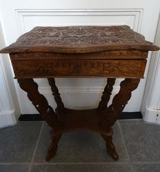 Asian richly adorned sewing table with inner compartment
