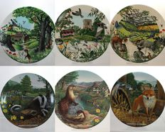 Collection of 6 Decorative Porcelain Plates - Animals