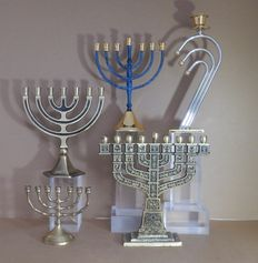 5 Jewish candlesticks including 4 Chanuka Menorahs