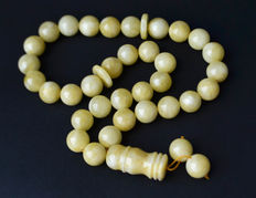 69 gram Baltic Amber rosary white, butterscotch egg yolk