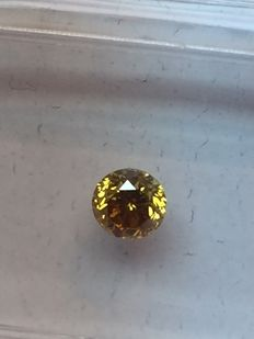 GIA certificate, Fancy natural diamond of 0.23  ct – deep brownish orangey yellow, Even