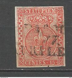 Parma, 1853-55—Vermilion 15 Cents—Variation (wide Greek borders)