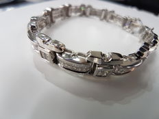 18kt White Gold Bracelet with Princess Cut Diamonds (Men's)