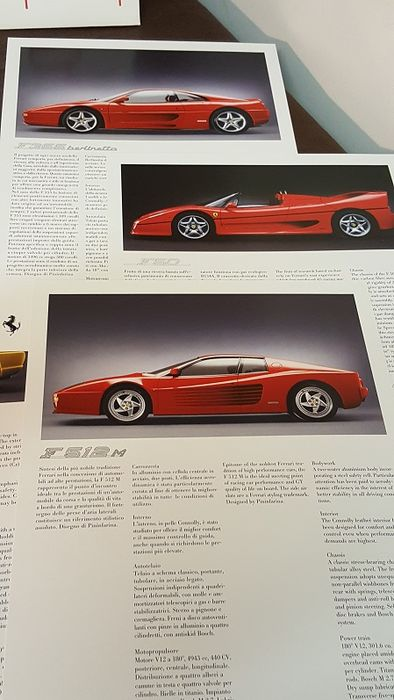 Ferrari brochures with data sheets - F 355, F 50, F 512, 456