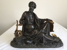 Classic bronze sculpture - presumably depicting the Greek philosopher Socrates - France - 19th century