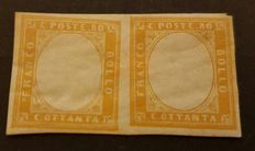 Italy, Sardinia, 1860 - 80 cents, yellow - Pair - Without effigy - Sassone 17Da