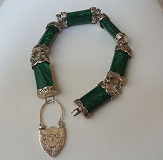 Bracelet in silver and malachite, Scottish, from the 1970s