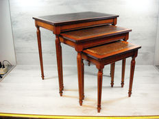 Three-piece set of side(wine) tables - with leather inlay - The Netherlands - Second half of the 20th century