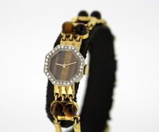 De Laneau - Vintage Ladies Manual Winding Swiss 18K Solid Gold Watch With Diamonds ( 0.32 CT Total ) and Tigers Eye
