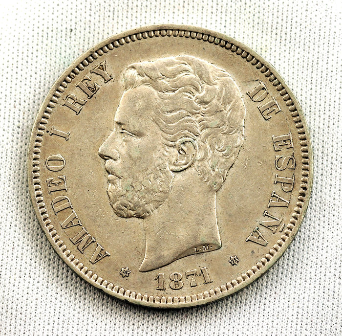 Spain - Amadeo I 5 silver pesetas MADRID 1871 SDM 25 g