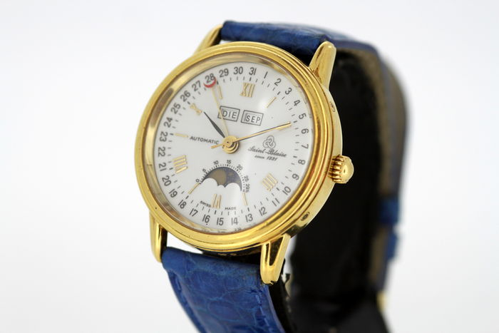 Saint Blaise - Automatic Vintage Gents Triple Calendar 18K Solid Yellow Gold Wristwatch