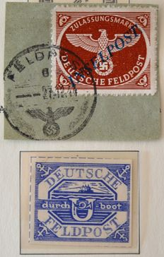 German Empire/Reich military letters 1944/1945 - submarine Hela and island letters Agramer overprint - Michel 10bll and 13