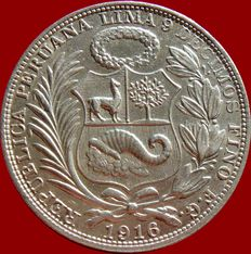 Republic of Peru - 1 silver Sol - Lima, 1915
