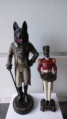 Two figures - dog of nobility -English waiter with tray, second half 20th century