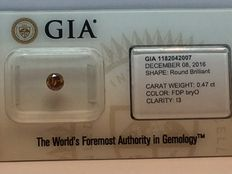 GIA certificate 0.47 ct. Fancy natural diamond of deep brownish yellow orange, even