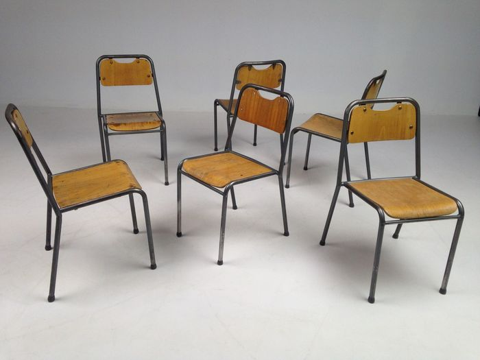 6 Eetkamerstoelen Design.Industrial Design Set Of 6 Stackable Chairs Catawiki