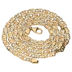 14 kt tri-colour gold curb fantasy link necklace - 54 cm