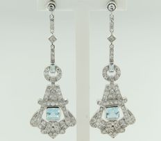 White gold dangle earrings of 14k in art deco style set with topaz and octagon cut diamonds