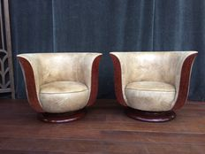 Pair of French Art Deco - style club armchairs - nut wood recently upholstered.