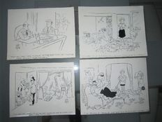 Keate, jeff -Lot of 4 original cartoon plates