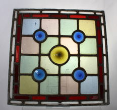 Set of 4 Antique Leaded Stained Glass Window Panels, Art Deco Style Design