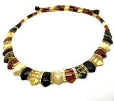 Elegant wide necklace of natural Baltic amber slices – width 15 mm - length 50 cm