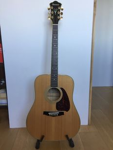 Late 1970's early 80's Ibanez Blond Dreadnought guitar with case