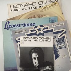 "Leonard Cohen, small yet beautiful collection including one-sided Spanish promo, rare 12"" and Halfspeed Mastered LP"