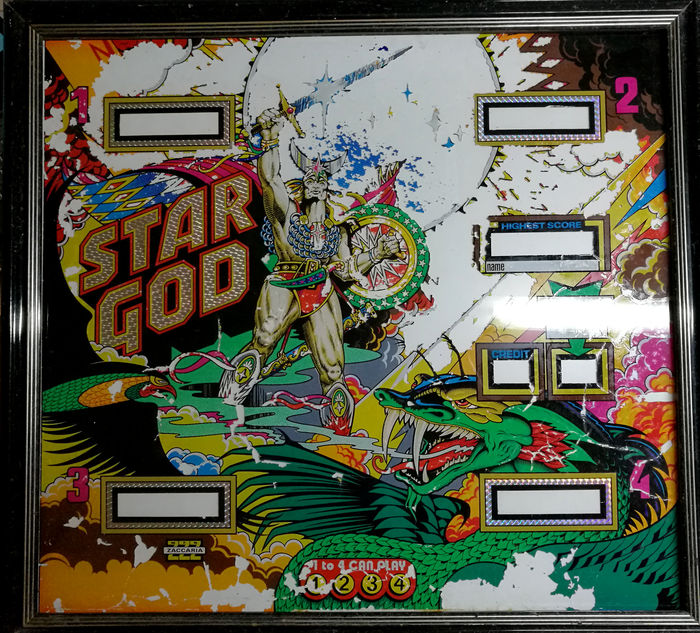 Zaccaria - STAR GOD pinball machine glass - 1980