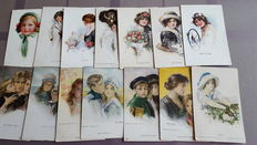 "Beautiful signed ""Art nouveau"" postcards from well known artists-illustrators 43 x"