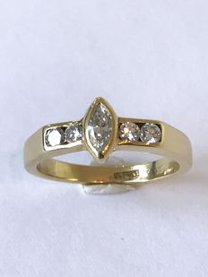Handmade 18 kt gold ring with marquise cut diamond, approx. 0.20 ct – Size 17