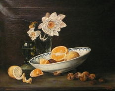 M. de Jong (20th century) - Stilleven met fruit en noten
