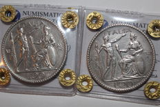 "Kingdom of Italy – 20 Lire 1927 and 1928 ""Littore"" Victor Emmanuel III (2 coins) – Silver"