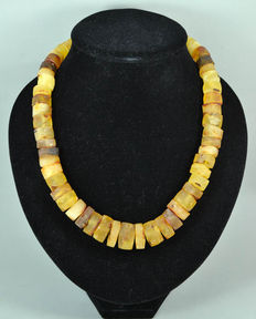 Baltic amber necklace butterscotch, egg yolk honey color