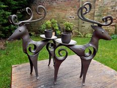Pair wrought iron candle holders worldwide reindeer shaped 19th-century Period
