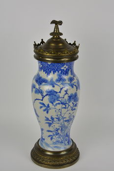 Vase mounted with fixture - Japan-early 20th century