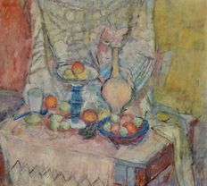 Unknown. (20th century Scottish School)-  Still life of fruit on a table.