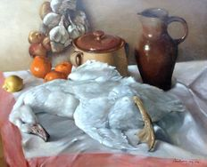 Jan Verschaeren (20th c) - still life with duck