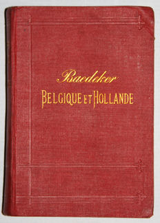 Baedeker - Lot with 3 English language and 2 French language travel guides for The Netherlands and Belgium - 1891/1910