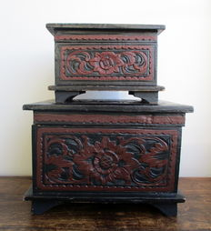 Two engraved wooden boxes, 2nd half of 20th century