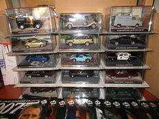 Fabbri James Bond Car Collection - Scale 1/43 - Lot with 15 models with magazines
