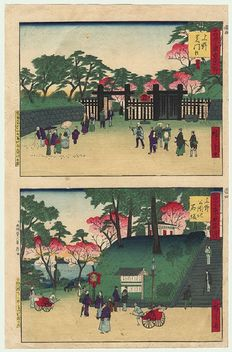 """Two original woodcarvings by Hiroshige III (1843-1894), printed together on one sheet, from the series """"Famous Places of Tokyo, Past and Present"""" – Japan – 1884."""
