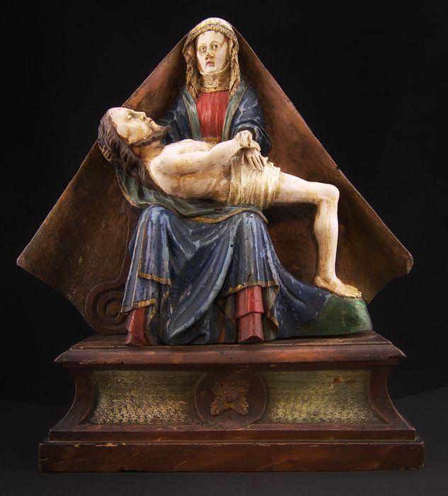 """Piety"", polychrome wooden sculpture - North Venetian school - Italy, 19th century"