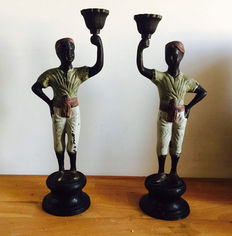 Pair of bronze candlesticks held by two Moors - bronze, 20th century, France