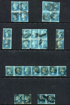 Great Britain 1841 - 2d blue imperforate, 29 used copies within 8 different multiples.