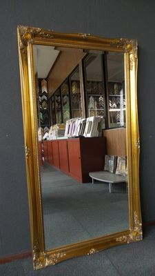 Large baroque mirror - facet cut glass - hand gilded - gold