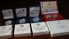 San Marino—Lire 10,000 (1999-2001)—Diptych Lire 500 and Lire 1,000 (Year 1990)—5 silver coins in their boxes