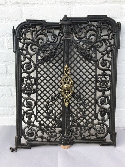 Two Cast Iron Doors As A Screen For A Fireplace France Approx 1880