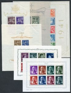 Portugal 1940/1949 - Selection of 6 minisheets - MS 941a, 964a, 988a, 997a, 984a, 1028a